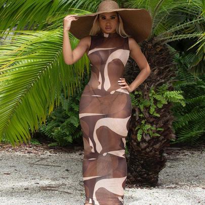 Mesh Printing Micro-transparent Slim Dress NSFLY57779