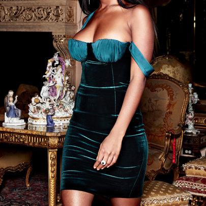 Slim Sling Bag Hip Velvet High Elastic Fold Stitching Dress NSFLY57784