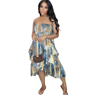 Summer Color Tie-dye Wrapped Chest Sexy Print Plus Size Beach Skirt NSMYF57839
