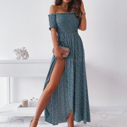 Summer Fashion Print Sexy Split Temperament Dress Dress NSJIN57896