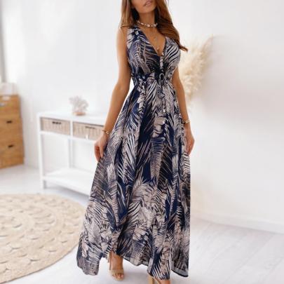 Summer Fashion Print Strappy V-neck Sexy Long One-piece Dress NSJIN57895