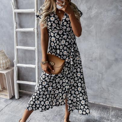 Summer Fashion V-neck Floral Short Sleeve Casual Dress NSJIN57893