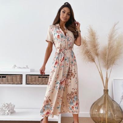 Summer Fashion Lapel Bow Split Print Short-sleeved Dress NSJIN57891