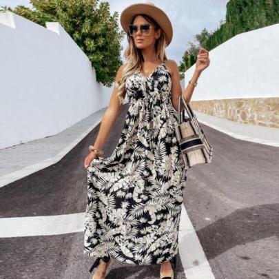 Summer Sleeveless Sling Printed Bohemian Long Dress NSJIN57890