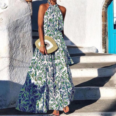 Summer Fashion Sexy Floral Backless Sleeveless Dress NSJIN57889
