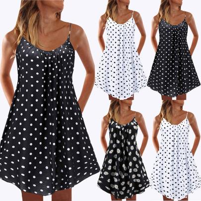 Printed Polka Dot Small Chrysanthemum Sling Ruffle Dress NSYIS55015