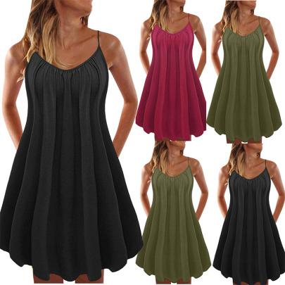 V-neck Solid Color Loose Suspender Dress NSYIS55016