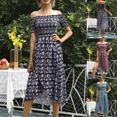 Floral Print Wrapped Chest Off-shoulder Short-sleeved High Waist Dress NSSUO55021