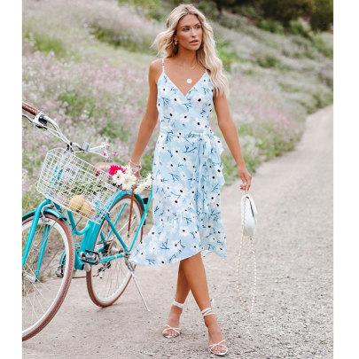 Printed Suspender V-neck Ruffle High Waist Dress NSJIM55023