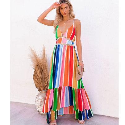 Rainbow Stripe Printing Lace Stitching Deep V Strap Long Dress NSJIM55026