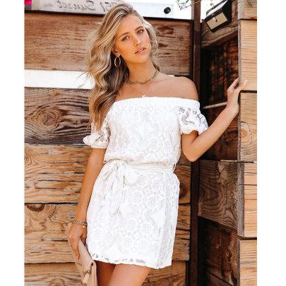 Embroidered Lace Off-shoulder Waist Lace-up Short Dress NSJIM55027