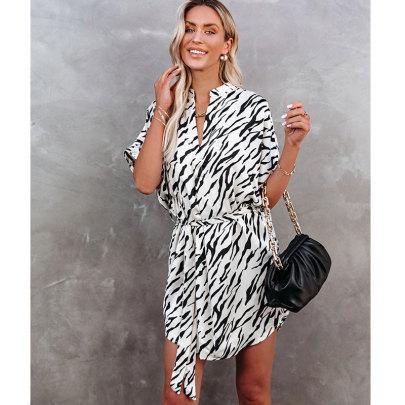 Zebra Print Short Sleeve Irregular Loose Fashion Dress NSJIM55028