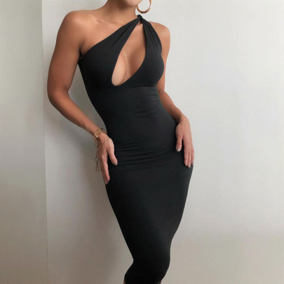 Mid-length Summer Solid Color Sexy Hollow One-shoulder Dress NSJYF57909