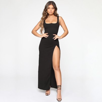 New Solid Color Sleeveless Sexy Slit Mid-length Suspender Dress NSJYF57963