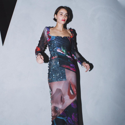 New Sexy Color Contrast Printing Long-sleeved Mid-length Dress NSJYF57964