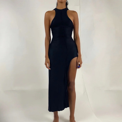 New Solid Color Sleeveless Sexy Irregular Slit Mid-length Dress NSJYF57981