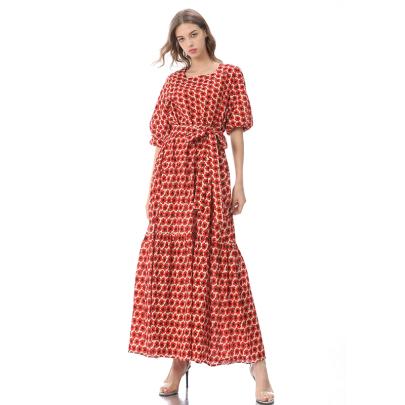 Retro Temperament Short-sleeved Floral Long Dress  NSLIB58323
