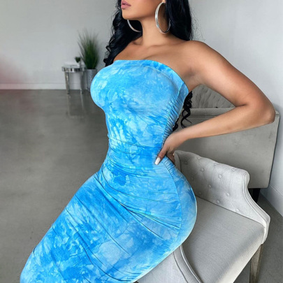 New Summer Long Style Wrapped Chest Printing Pullover Dress NSJYF58021