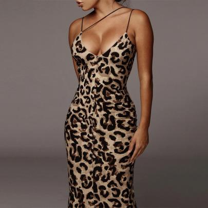 Spring Sexy V-neck Snake Print Sling Mid-length Dress NSJYF58024
