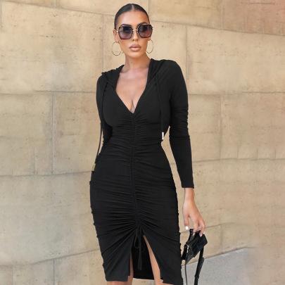 New Hooded V-neck Long-sleeved Solid Color Pullover Slim Fit Hip Dress NSJYF58026