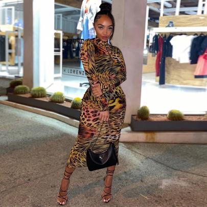 New Autumn Print High Neck Long Sleeve Bag Hip Pullover Dress NSJYF58031
