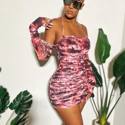 Hedging One-shoulder Printed Dress NSJYF58041