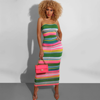 Rainbow Digital Print Wrapped Chest Long Turtleneck Mini Dress NSJYF58049