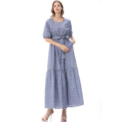 Retro Temperament Large Swing Short-sleeved Floral Dress NSLIB58322