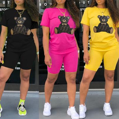 Cartoon Fashion Cute Bear Print Round Neck T-shirt Shorts Two-piece Set NSYAY58325