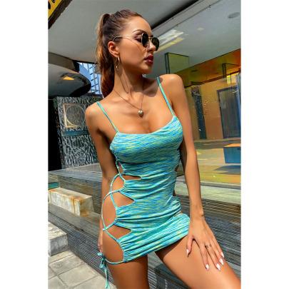 New Sling V-neck Strap Hollow Dress NSYIS58358