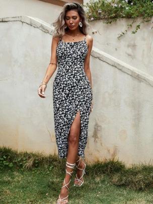 New Sexy Sling Split Printed Dress NSCX58115