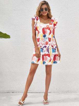 New Sling Printing Loose Dress NSCX58119