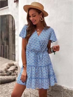 V-neck Printed Short-sleeved Dress NSCX58120
