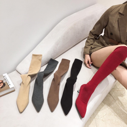 Autumn And Winter New Knitted Wool Elastic Crystal Heel Boots NSHU58224