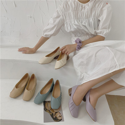 Autumn New Ruffled Square Toe Thick Heel Mid-heel Soft Shoes NSHU58267