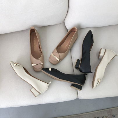 Soft Leather Spring And Autumn New Square Toe Low-heel Shoes NSHU58272