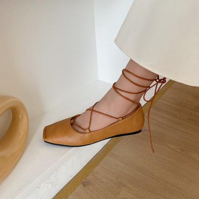 New Fashion Single Flat Square Toe Strappy Shoes NSHU58275