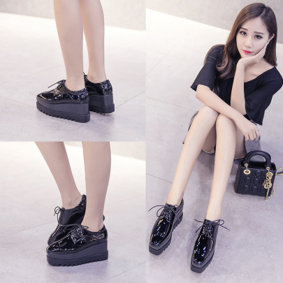 Patent Leather Platform Thick-soled Spring And Autumn New Shoes NSHU58283