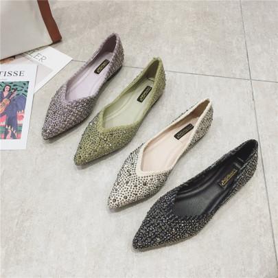 Autumn New Fashion Rhinestone Net Red Beanie Shoes NSHU58288