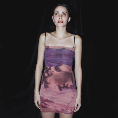 Fashion Print Suspender Dress NSFLY58304