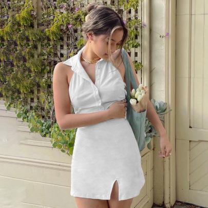 Back Tie POLO Collar Split Short Dress NSFLY58306