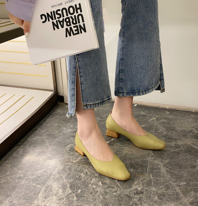 Spring And Autumn New Simple Single Mid-heel Pointed Shoes NSHU58315