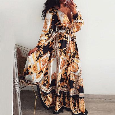 Retro Fashion Style Printed V-neck Long Sleeve Dress NSJC58366
