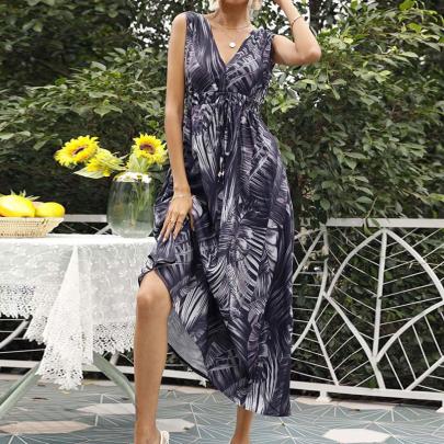 Printed V-neck Sleeveless Dress NSJC58373