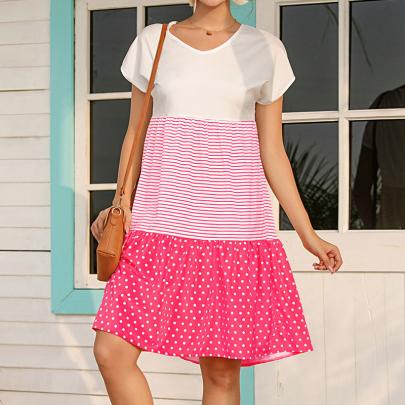 New Fashion Round Neck Stitching Printed Dress NSJC58368
