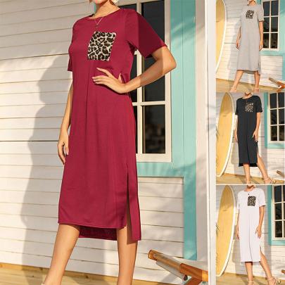 Summer New Casual Round Neck Leopard Print Split Dress Long Dress NSJC58388
