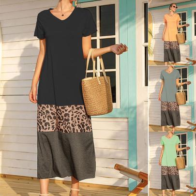 Ladies Summer Fashion Round Neck Leopard Print Stitching Casual Dress NSJC58387
