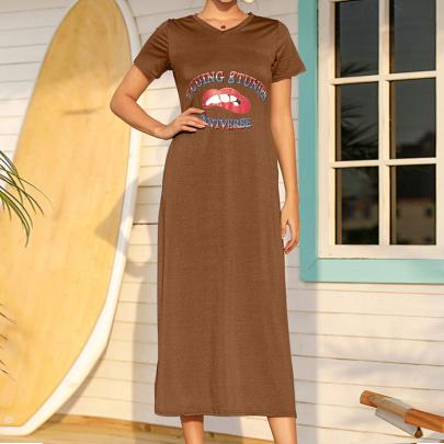 Fashion  Round Neck Letter Printing Dress NSJC58385