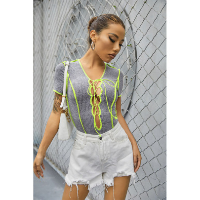 New Trend Color Line Chest Strap Hollow Rib Short-sleeved Jumpsuit NSYIS58400