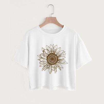 Flower Print Casual Short-sleeved Split Short T-shirt  NSYAY58408